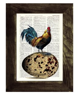 chicken on egg vintage page