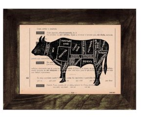 cow diagram on vintage page